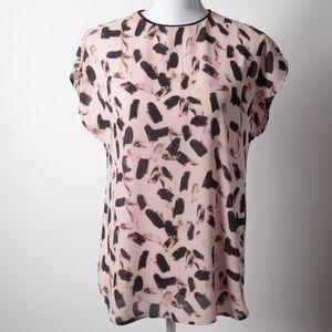 Banana Republic | Pink & Black Print Blouse Top XS